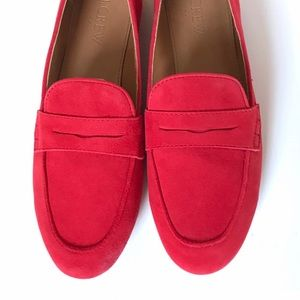 JCrew Size 6 Persimmon Red Suede Loafers